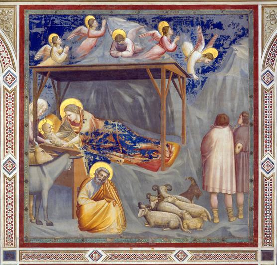 """Padova, Cappella degli Scrovegni, """"Natività di Gesù"""", affresco di Giotto da Bondone (Vespignano, 1267 circa - Firenze, 8 gennaio 1337)."""