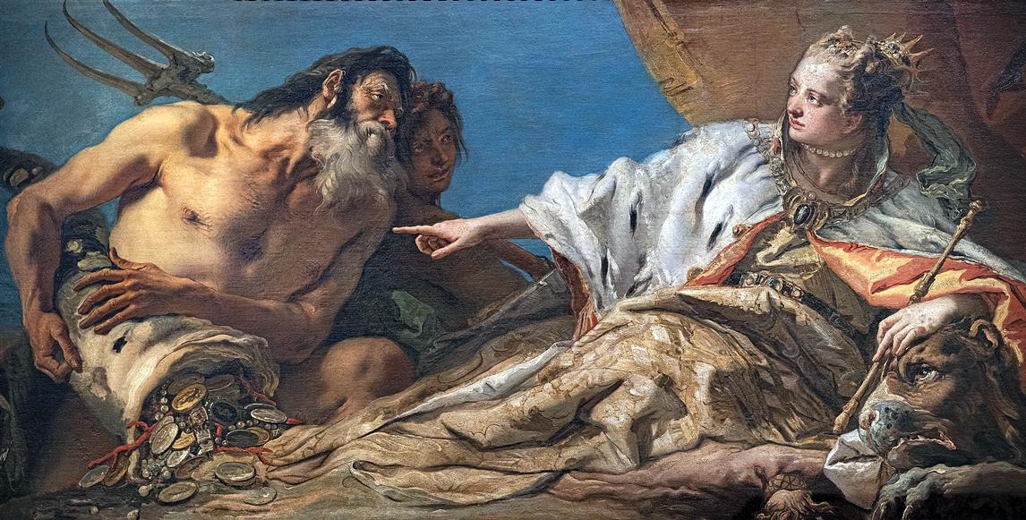 """Venezia, Palazzo Ducale, """"Nettuno offre a Venezia la ricchezza del mare"""" (1745-1750) di Giambattista Tiepolo (Venezia, 5 marzo 1696 - Madrid, 27 marzo 1770)."""